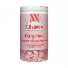 Сахарная посыпка «Сердечки перламутровые розовые» С.Пудовъ, 45 г