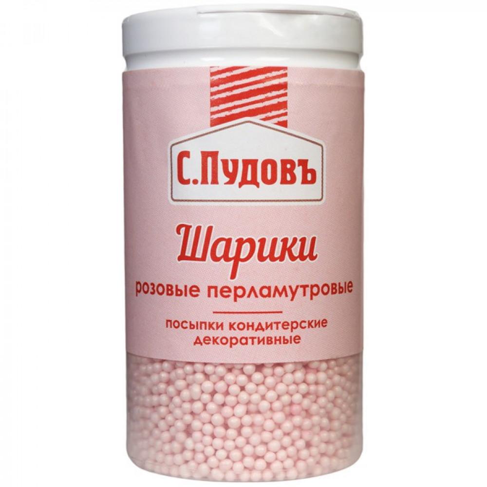 Сахарная посыпка «Шарики перламутровые розовые» С.Пудовъ, 60 г