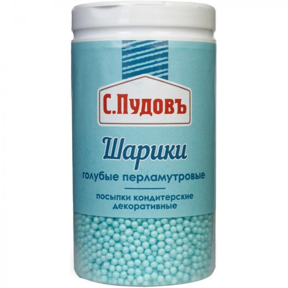 Сахарная посыпка «Шарики перламутровые голубые» С.Пудовъ, 55 г